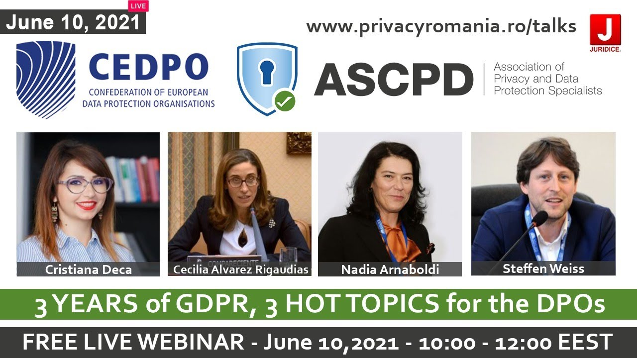 ASCPD Webinar: 3 YEARS of GDPR, 3 HOT TOPICS for the DPOs